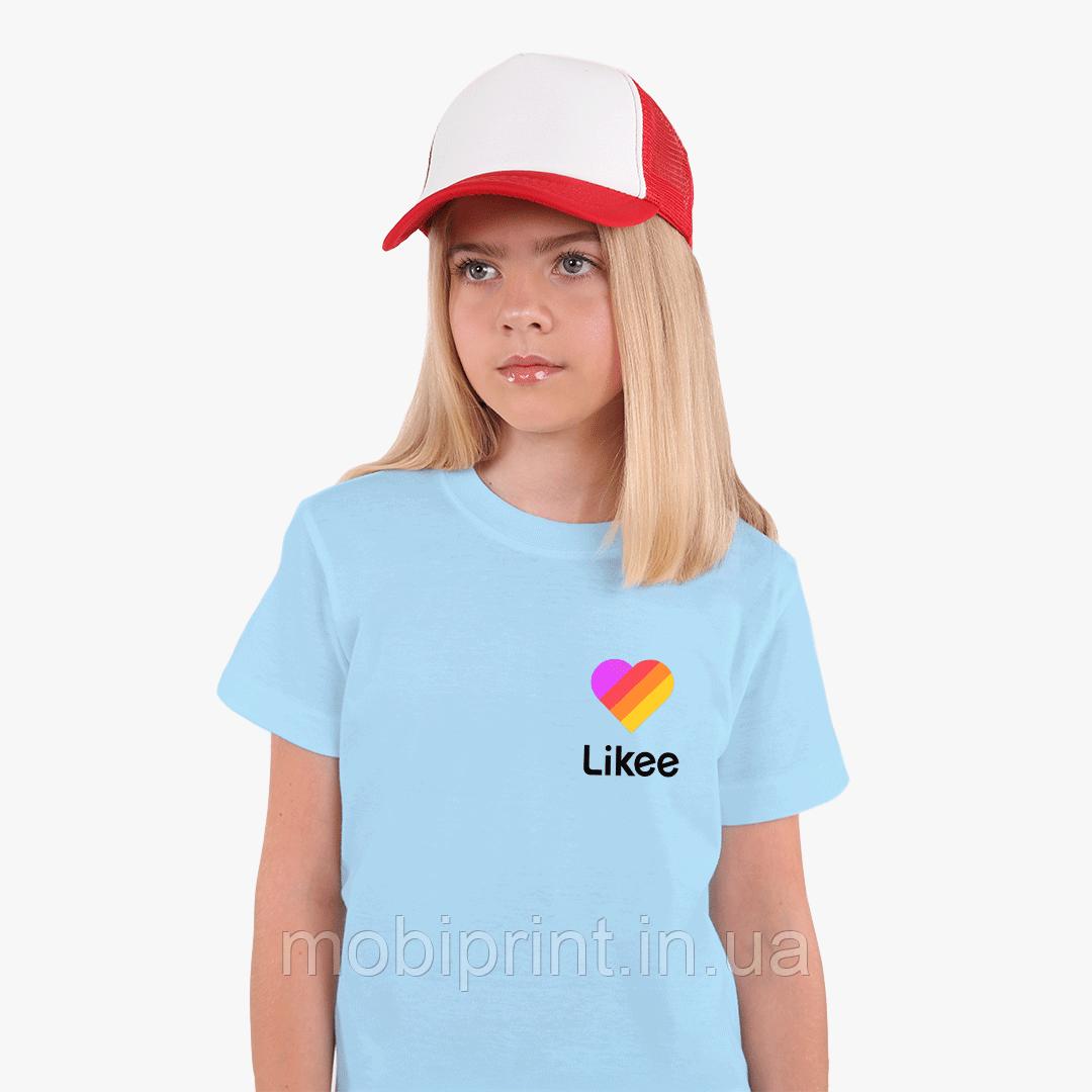 Детская футболка для девочек Лайк (Likee) (25186-1035) Голубой