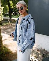 Стильная модная женская джинсовая курточка оверсайз