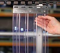 Пленочные полосовые ПВХ завесы прозрачная ребристая 2х300