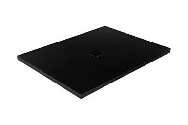 Поддон минеральный BESCO NOX Ultraslim 120x80 Black черный с сифоном