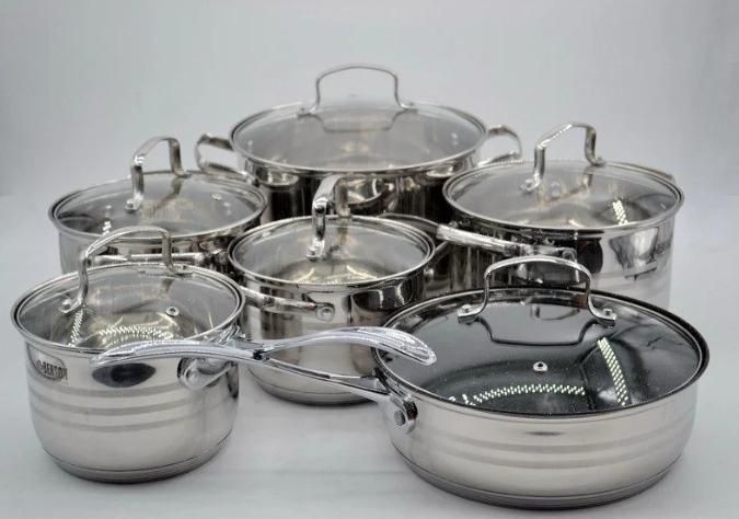 Набор кастрюль из нержавеющей стали 12 пр. 5-слойным дном Benson (2.1 , 2.1,  2.9 , 3.9, 6,5 л.)с сковородой