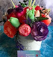 Букет цветов из мыла в горшочке и упаковке
