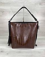 Коричневая женская сумка мешок 59003 шоппер с одной ручкой на плечо, фото 1