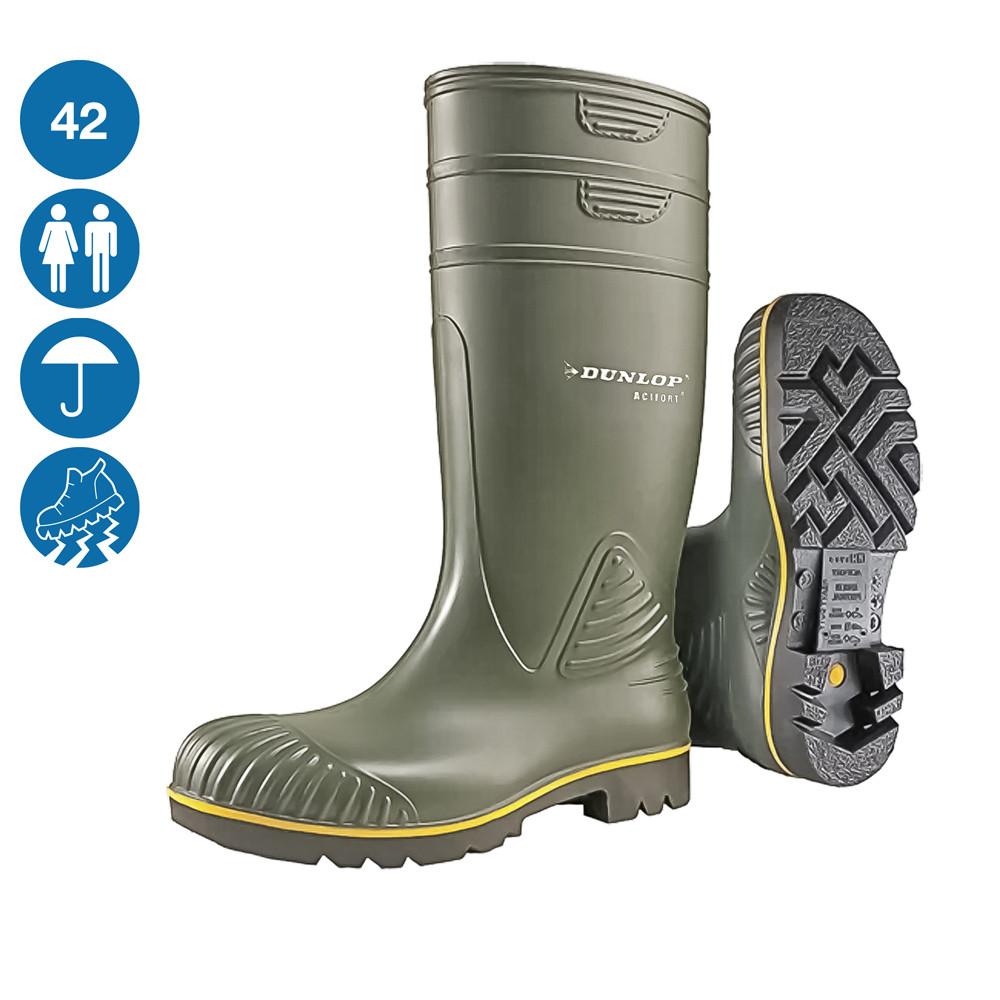 Сапоги резиновые защитные спецобувь для пищевых предприятий Dunlop Acifort Heavy Duty цвет зеленый 42