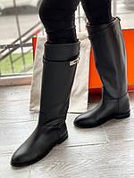 Кожаные сапоги Hermes на низком каблуке (реплика), фото 1