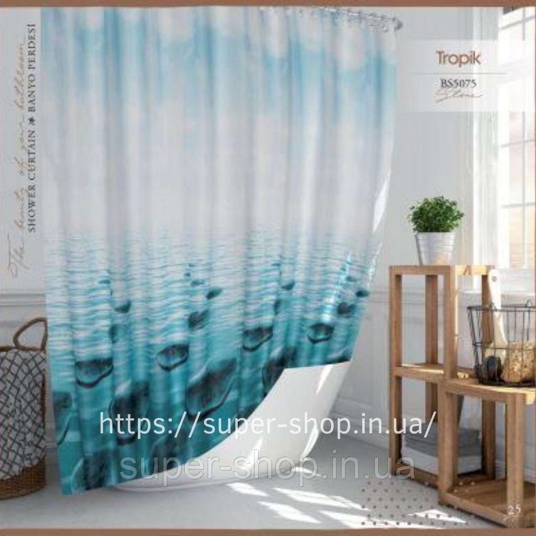 Штора для ванной из полиэстера Тропик 180х200 см с каплями