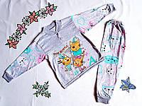 Пижама детская для девочки на весну-осень с длинным рукавом три кота 86-134, 86-92
