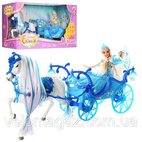 Музична карета 225A з лялькою 28 см, конячка 29 см, звуковий супровід