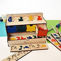 Качество! Деревянный сортер для детей. Легкое изучение цветов, форм, детский пазл из дерева для малышей