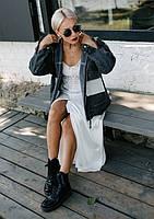 Лаконичная молодежная джинсовая курточка в универсальном размере, фото 1