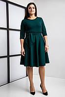 Женское платье бутылочного цвета с юбкой солнце клеш, фото 1