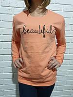 Батник молодіжний для дівчат з написом розмір 44-48, колір уточнюйте при замовленні, фото 1