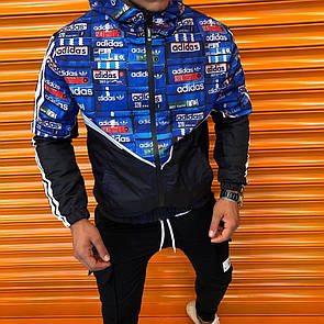 Мужская ветровка куртка с капюшоном на молнии, Adidas, Black / Blue
