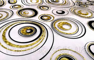 Мягкое стекло Скатерть с лазерным рисунком Soft Glass 2.5х0.8м толщина 1.5мм Золотисто-черные круги