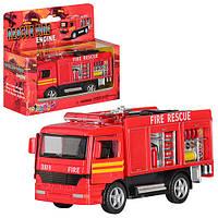 Машинка металлическая инерционная Пожарная 12,5 см