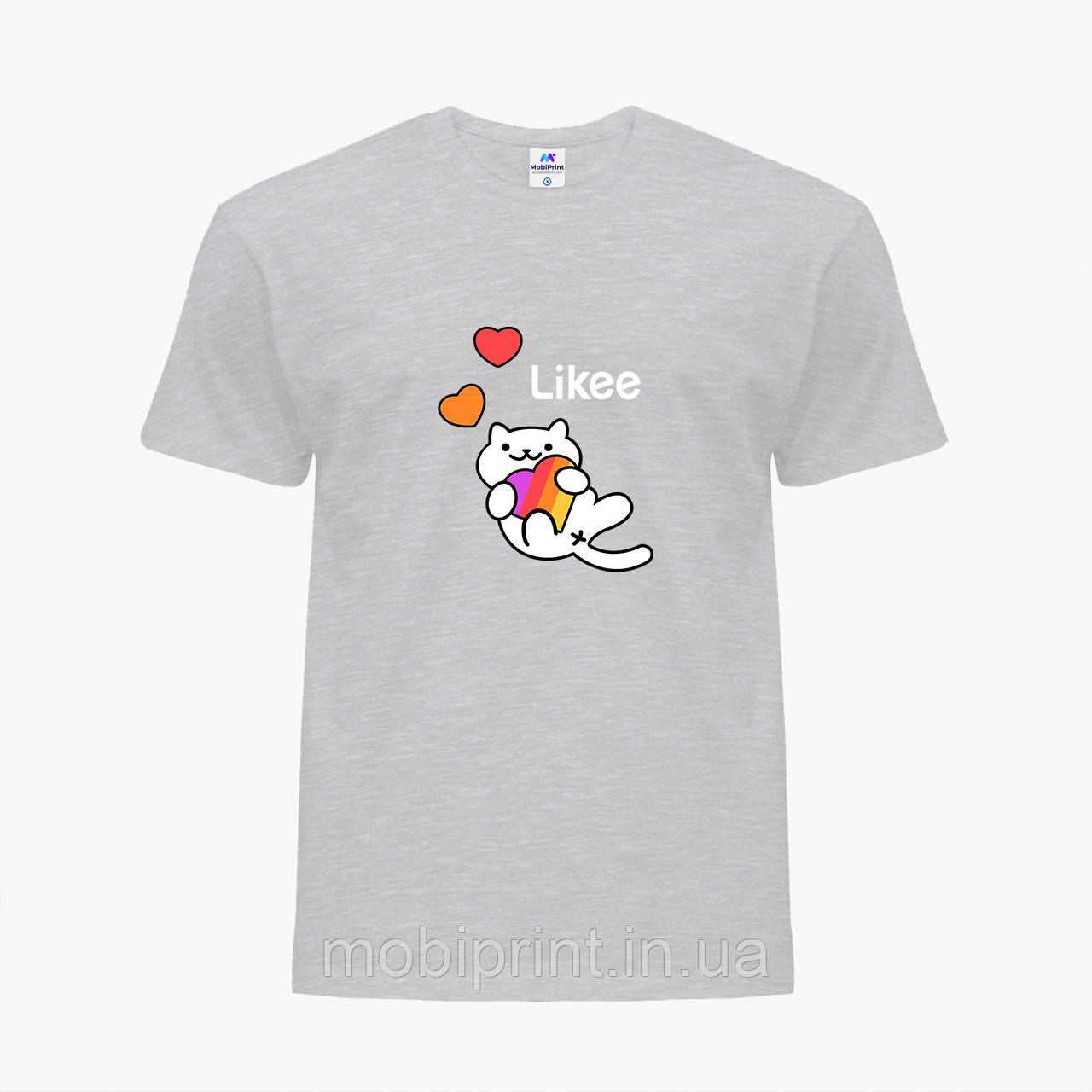 Детская футболка для девочек Лайк (Likee) (25186-1039) Светло-серый