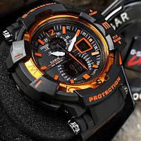 Часы наручные мужские женские электронные цифровые оранжевые Casio G-Shock GW-A1100 Black-Orange 1006-0489