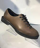 Женские стильные кожаные туфли без каблука, Украина