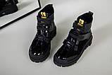 Ботинки женские кожа и замша черные на шнурках и липучке демисезонные, фото 3
