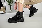 Ботинки женские кожа и замша черные на шнурках и липучке демисезонные, фото 5