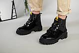 Ботинки женские кожа и замша черные на шнурках и липучке демисезонные, фото 7