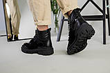 Ботинки женские кожа и замша черные на шнурках и липучке демисезонные, фото 9