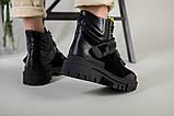 Ботинки женские кожа и замша черные на шнурках и липучке демисезонные, фото 6