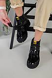 Ботинки женские кожа и замша черные на шнурках и липучке демисезонные, фото 4