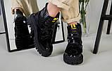 Ботинки женские кожа и замша черные на шнурках и липучке демисезонные, фото 8