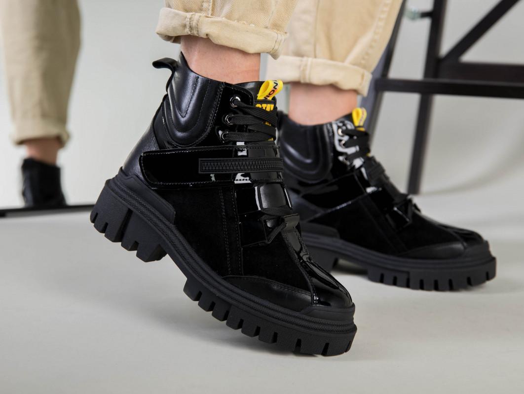 Ботинки женские кожа и замша черные на шнурках и липучке демисезонные