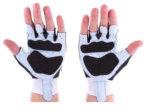 Перчатки для велосипедистов и фитнеса CrownFit Lycra+Amara, цвет черно-белый, фото 2