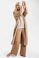 В'язане пальто-кардиган прямого комфортного силуету, мінімалістичного дизайну пісочний
