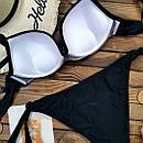 Черный купальник бандо с двойным пуш ап, фото 2