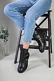 Черевики жіночі шкіряні чорні на ремінцях демісезонні, фото 6