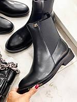 Кожаные ботинки BALENCIAGA на низком каблуке (реплика), фото 1