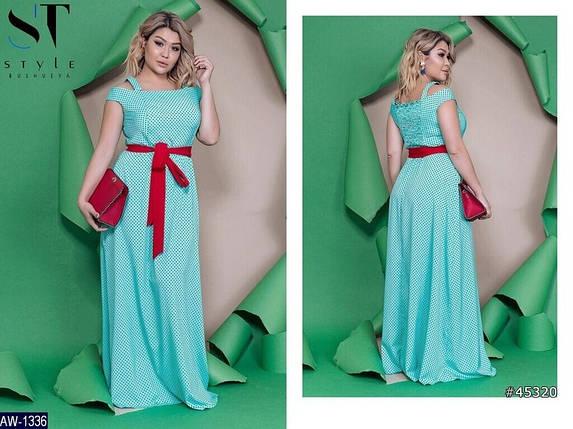 Утонченное женское платье в пол с открытыми плечиками, ткань *Коттон* 48, 50, 52, 54, 56, 58 размер батал 48, фото 2