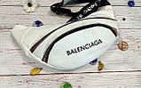 Стильная женская поясная сумочка, бананка Balenciaga, баленсиага. Белая. Турция., фото 3