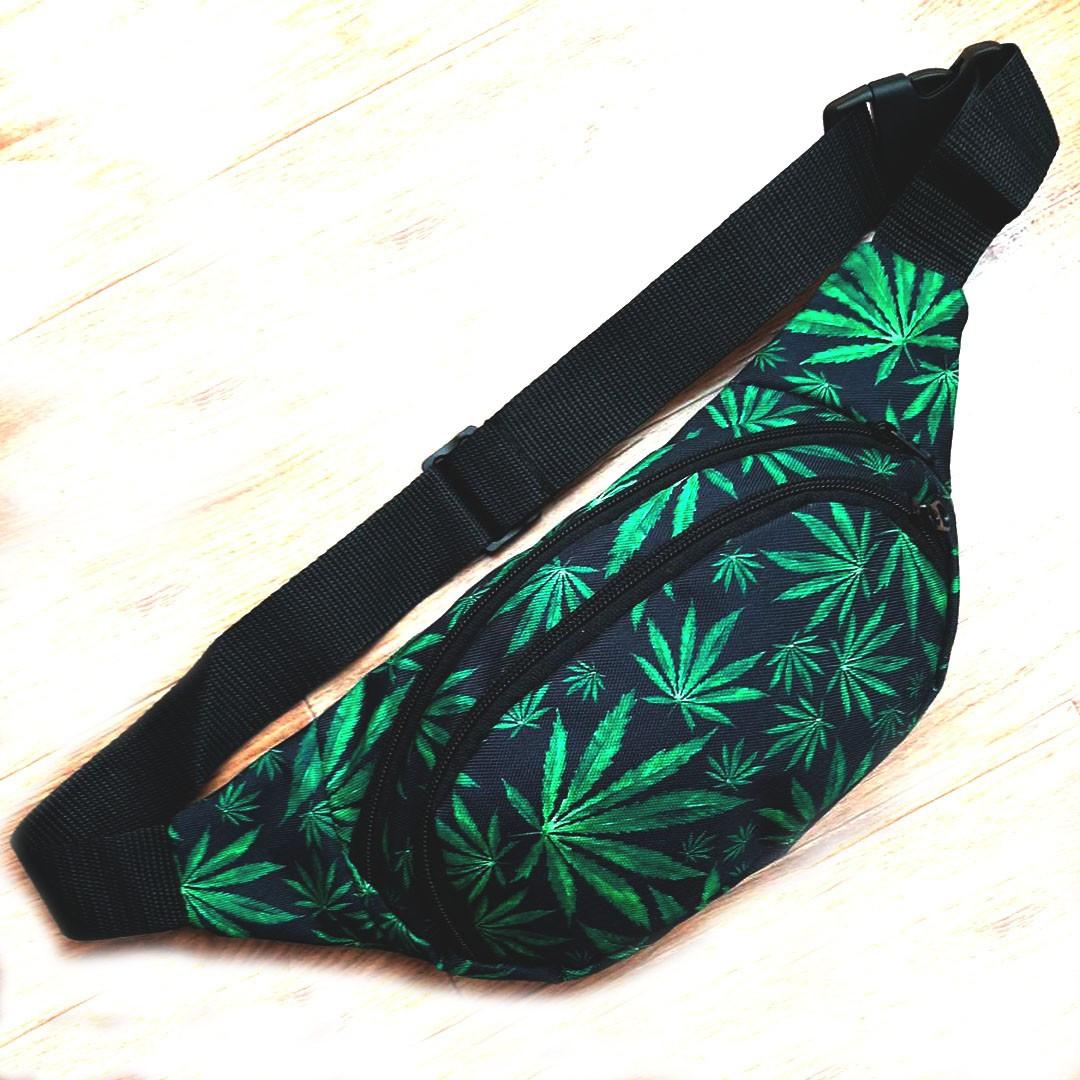 Поясная сумка, Бананка, барсетка конопля. Cannabis