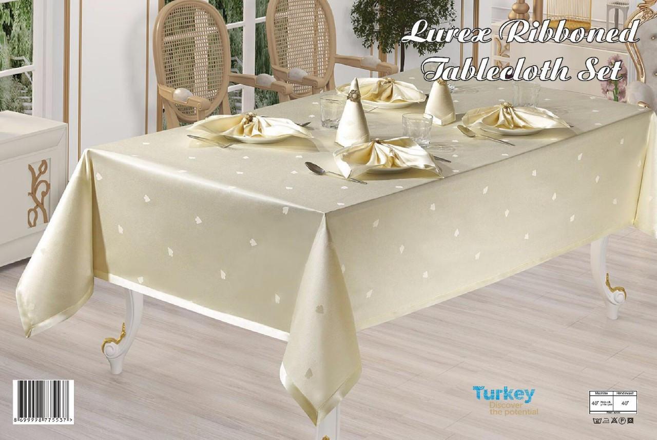 Скатертина прямокутна Rozalite Set 160х220 +8 серветок 35х35, Crem, Туреччина