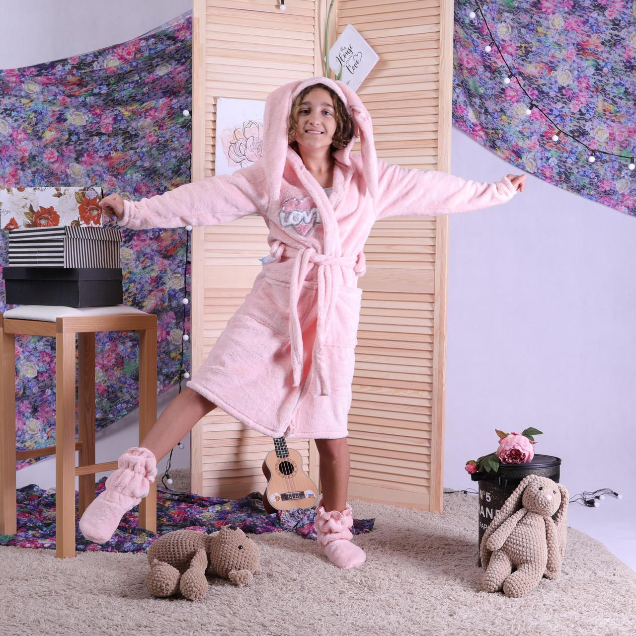 """Красивий махровий халат для дівчаток на запах """"Зефір"""" р. 32-42"""