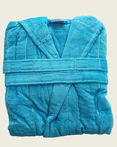 Халат жіночий махра/велюр короткий з капюшоном З/М, Л/ХЛ( TM Gursan), бірюзовий Туреччина