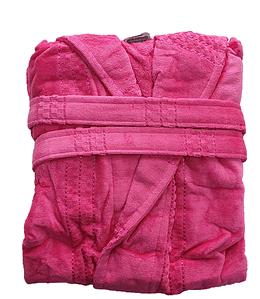 Халат жіночий махра/велюр короткий з капюшоном З/М, Л/ХЛ ( TM Gursan), малиновий Туреччина