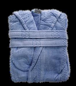 Халат жіночий махра/велюр короткий з капюшоном З/М, Л/ХЛ ( TM Gursan), блакитний Туреччина