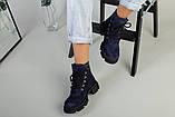 Ботинки женские замшевые синие на шнурках демисезонные, фото 7