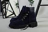 Ботинки женские замшевые синие на шнурках демисезонные, фото 4
