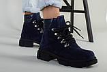 Ботинки женские замшевые синие на шнурках демисезонные, фото 2