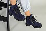 Ботинки женские замшевые синие на шнурках демисезонные, фото 8