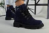 Ботинки женские замшевые синие на шнурках демисезонные, фото 9