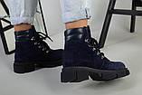 Ботинки женские замшевые синие на шнурках демисезонные, фото 3
