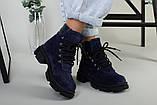 Ботинки женские замшевые синие на шнурках демисезонные, фото 6